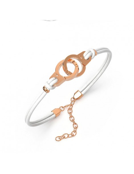 Bracelet steel handcuffs pink and white cowhide 318424RB One Man Show 39,90€