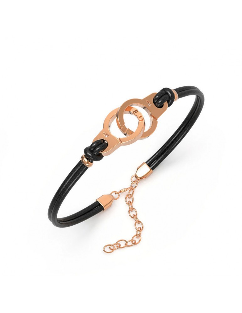 Bracelet pink handcuffs steel and black cowhide 318424RN One Man Show 39,90 €