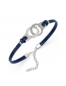 Armband Stahl Handschellen und blau Kuhhaut 318424BL One Man Show 39,90€