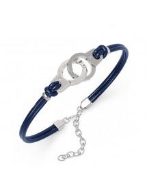 Bracelet menottes en acier et cuir de bovin bleu 39,90€ 39,90€