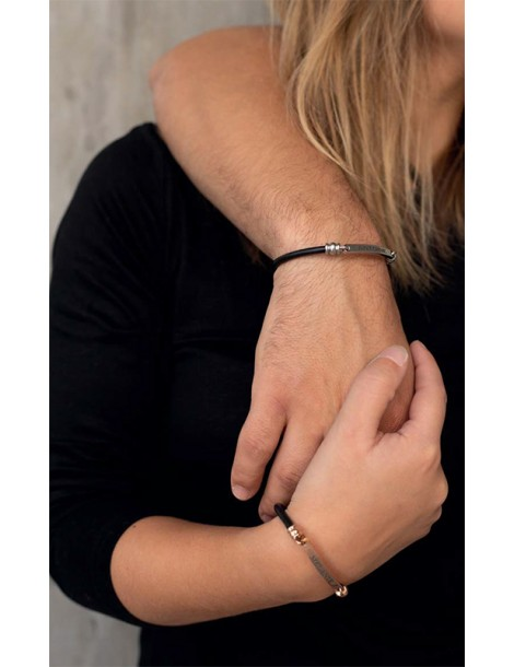 Steel bracelet and black cow leather 318016 One Man Show 39,90€