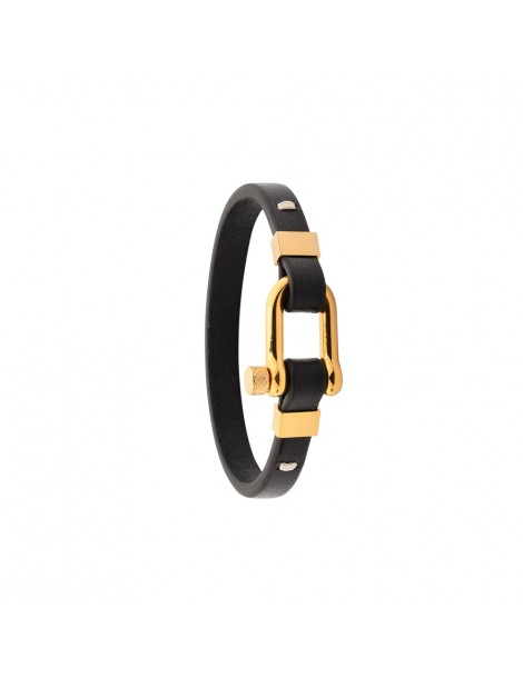 Bracelet in yellow steel and Italian full grain cowhide leather 318425ND One Man Show 49,90€