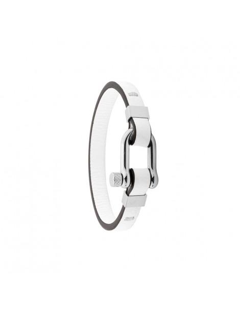 Steel bracelet and Italian beef white full flower leather 318425B One Man Show 49,90€