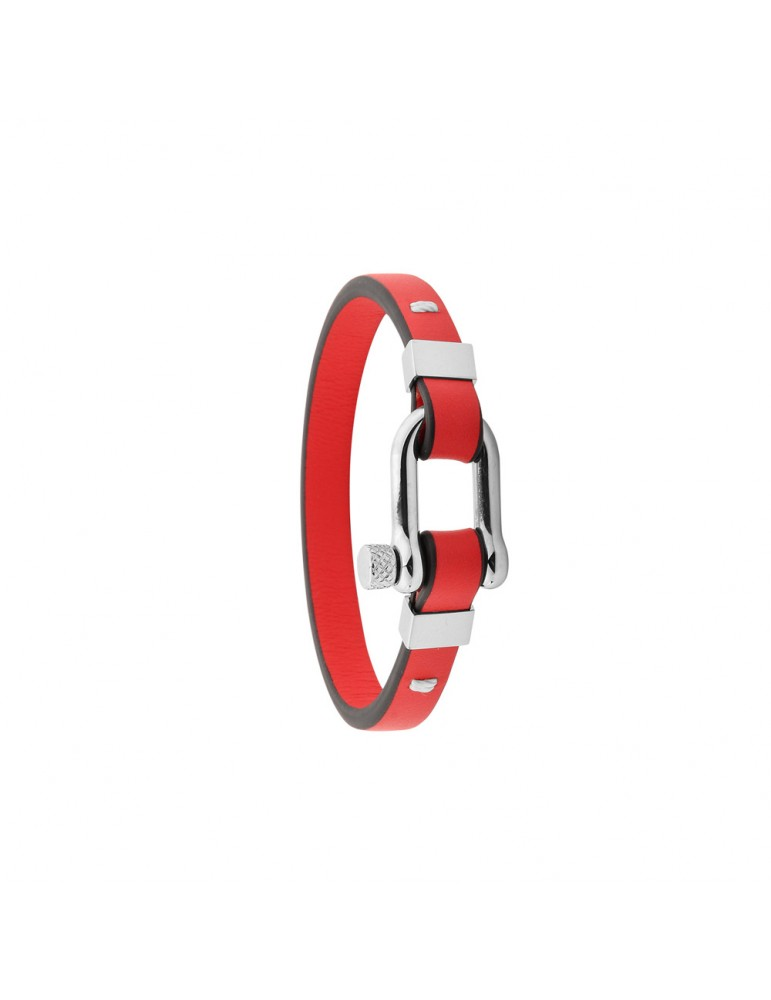 Steel bracelet and Italian Red Grain cowhide 318425R One Man Show 49,90 €