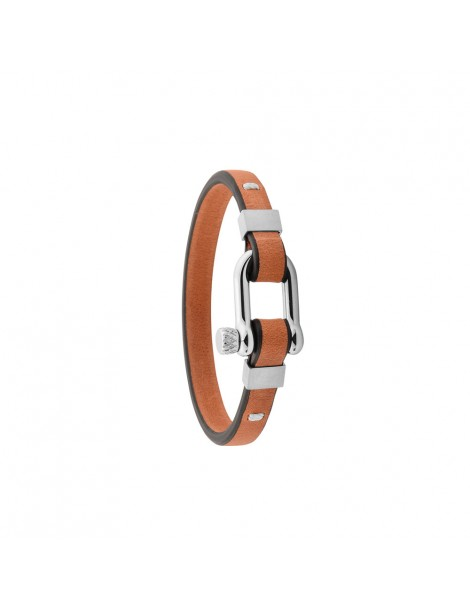 Bracelet in steel and Italian bovine leather full grain brown 318425M One Man Show 49,90€