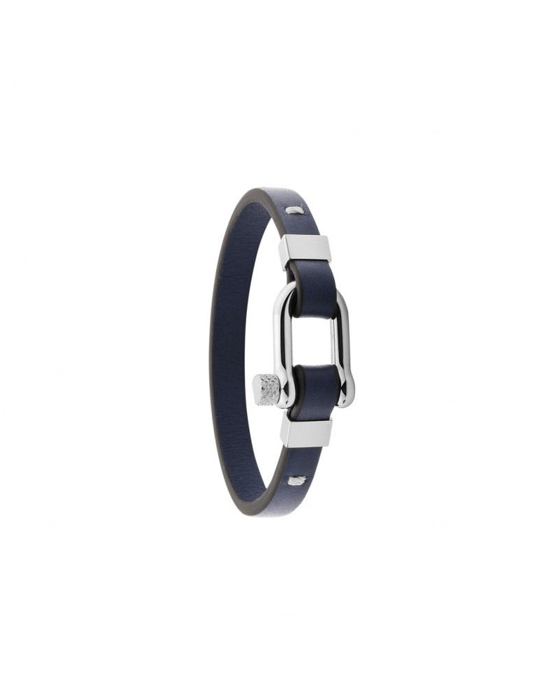 Bracelet in steel and Italian blue full grain cow leather 318425BL One Man Show 49,90€
