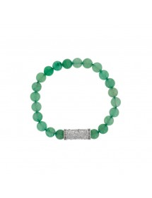 Aventurine beaded elastic bracelet and steel motif - 18 à 20 cm 318084D One Man Show 39,90 €