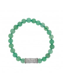 Aventurine beaded elastic bracelet and steel motif - 20 à 22 cm 318084H One Man Show 39,90 €