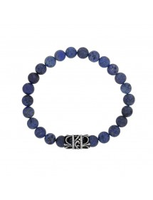 Elastic bracelet made of dumortiérite beads and steel motif - 18 à 20 cm 318076D One Man Show 39,90 €