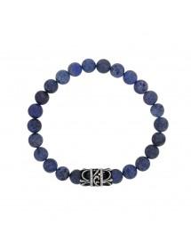 Bracelet élastique en perles dumortiérite et motif en acier - 20 à 22 cm 39,90€ 39,90€