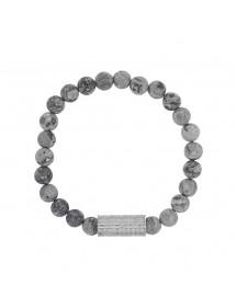 Bracelet élastique en perles de Jaspe et perle tube acier - 20 à 22 cm 39,90€ 39,90€