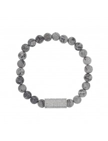 Elastic bracelet in Jasper beads and steel tube bead - 20 à 22 cm 318081H One Man Show 39,90 €