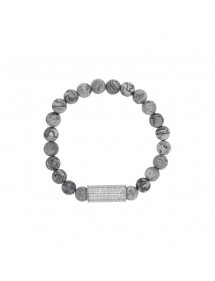 Elastic bracelet in Jasper beads and steel tube bead - 18 à 20 cm 318081D One Man Show 39,90 €