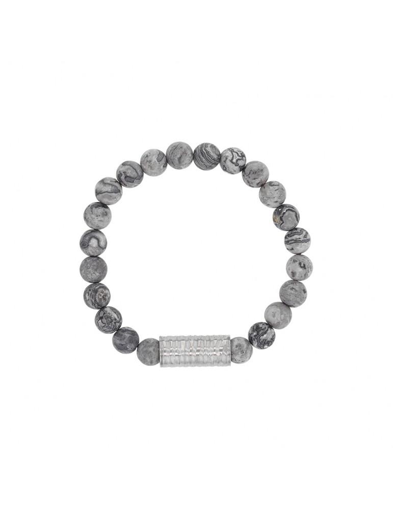 Elastic bracelet in Jasper beads and steel tube bead - 18 à 20 cm 318081D One Man Show 39,90€