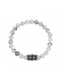 Bracelet élastique en perles Howlite blanche et perle acier - 20 à 22 cm 39,90€ 39,90€