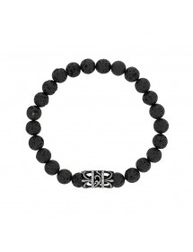 Elastic bracelet in lava stones and perforated steel bead - 20 à 22 cm 318078H One Man Show 39,90 €