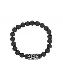 Bracelet élastique en pierres de Lave et perle acier ajouré - 18 à 20 cm 39,90€ 39,90€