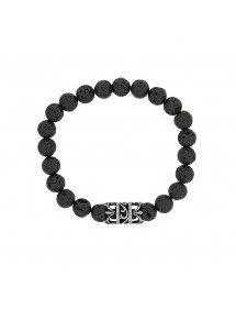 Elastic bracelet in lava stones and perforated steel bead - 18 à 20 cm 318078D One Man Show 39,90 €
