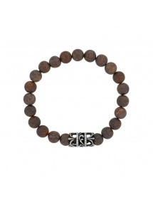 Elastic Bracelet in Bronzite Beads and Openwork Steel - 18 à 20 cm 318077D One Man Show 39,90 €