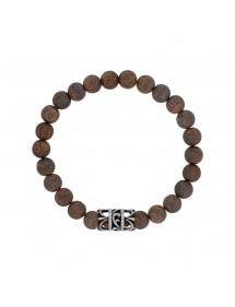 Bracelet élastique en perles de Bronzite et acier ajouré - 20 à 22 cm 39,90€ 39,90€