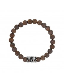 Elastic Bracelet in Bronzite Beads and Openwork Steel - 20 à 22 cm 318077H One Man Show 39,90 €