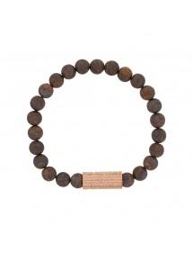Bracelet élastique en perles de Bronzite et acier rose - 20 à 22 cm 39,90€ 39,90€