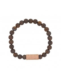 Elastic bracelet made of Bronzite beads and pink steel - 20 à 22 cm 318080H One Man Show 39,90 €
