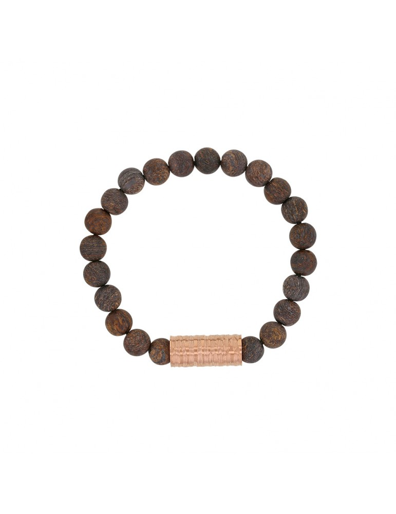 Elastic bracelet made of Bronzite beads and pink steel - 18 à 20 cm 318080D One Man Show 39,90 €