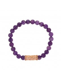 Amethyst beaded elastic bracelet and pink steel bead - 20 à 22 cm 318083H One Man Show 39,90 €