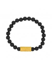 Bracelet of black Agate beads and golden steel bead - 20 à 22 cm 318082H One Man Show 39,90 €