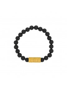 Bracelet of black Agate beads and golden steel bead - 18 à 20 cm 318082D One Man Show 39,90 €