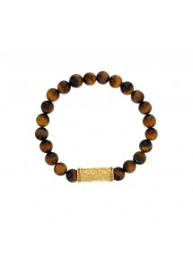 Bracelet tiger eye beads and yellow steel bead - 18 à 20 cm 318085D One Man Show 39,90 €