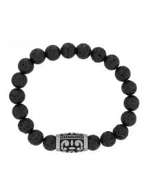 Bracelet élastique pierres de Lave et perle tube motif en acier mat 42,00€ 42,00€
