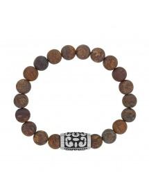 Bracelet élastique perles Bronzite et perle tube motif en acier mat 42,00€ 42,00€