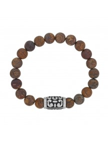 Bronzite beaded elastic bracelet and bead tube pattern in matte steel 318327 One Man Show 42,00 €