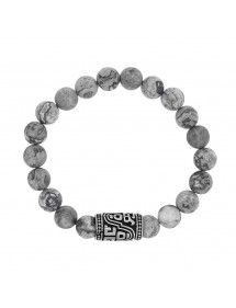Bracelet elastic Jasper beads and bead rounded steel tube 318328 One Man Show 42,00 €
