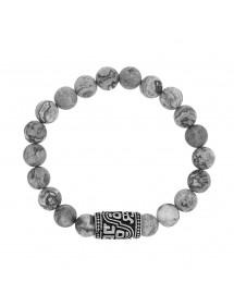 Bracelet élastique perles Jaspe et perle tube arrondi en acier mat 42,00€ 42,00€