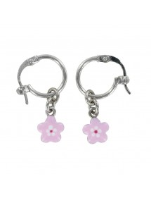 Earrings Creole form rhodium silver pendant with pink flower 313284 Suzette et Benjamin 34,00 €