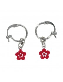 Creole earrings in rhodium silver with fuchsia flower pendants 313283 Suzette et Benjamin 34,00 €
