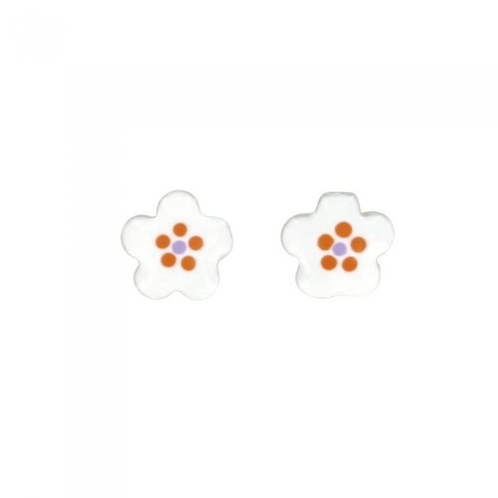 Ohrringe kleine weiße Blume Ohrringe Silber Rhodium