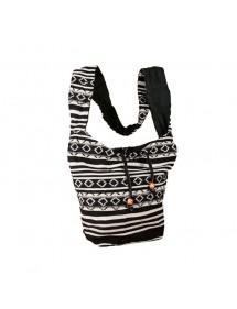 Besace indienne noire et blanche 100% coton 47392 Paris Fashion 18,90€