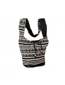 Black and white indian messenger bag 100% cotton 47392 Paris Fashion 18,90 €