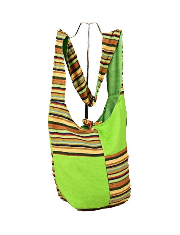 Green Indian messenger bag and colored stripes in 100% cotton 39352 Paris Fashion 18,90 €