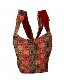 Burgundy indian messenger bag 100% cotton 47427 Paris Fashion 18,90 €