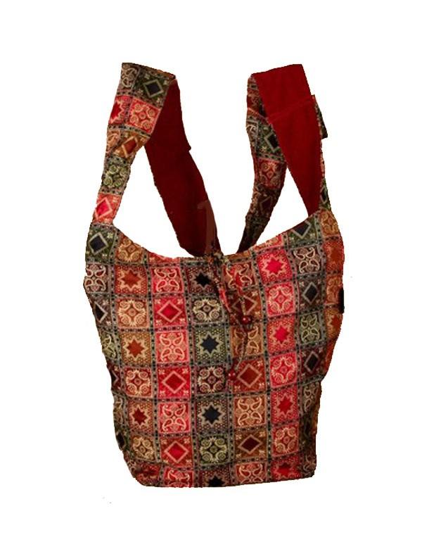 Burgundy indian messenger bag 100% cotton 47427 Paris Fashion 18,90€