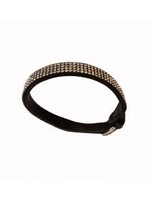 Black cowhide and rhinestone bracelet, steel buckle 31812200N One Man Show 24,00€