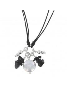 Collier cordon noir avec Agathe noir et Nacre blanche 3170900 îlOcéane 25,00€