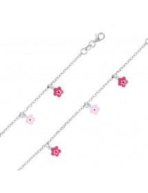 Bracelet en argent rhodié orné de petites fleurs fuchsia et rose 38,00€ 38,00€