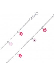 Rhodium silver bracelet decorated with small fuchsia and pink flowers 3180910 Suzette et Benjamin 38,00 €