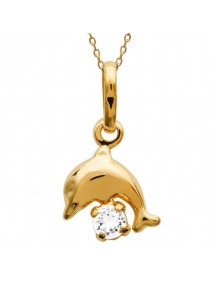 Gold plated dolphin pendant with zirconium oxide 326301 Laval 1878 14,00€